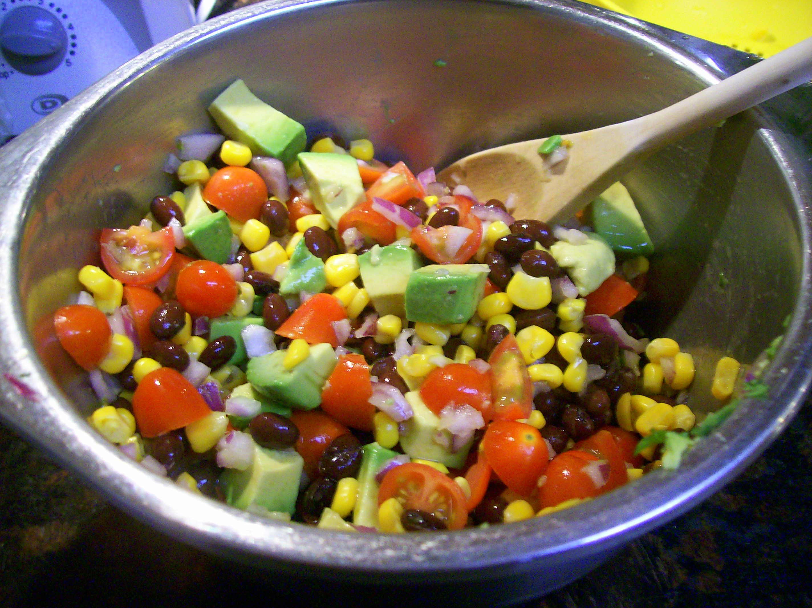 Black Bean, Corn & Avocado Salad Over Red Quinoa with Cilantro ...