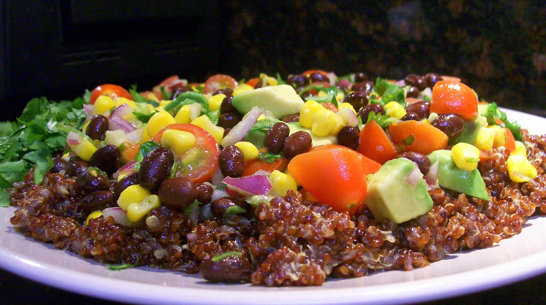black bean, corn & avocado salad over red quinoa with cilantro ...