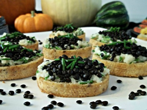 Nut Cheese and Chive Black Beluga Lentil Crostini's