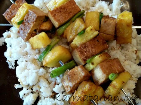 Teriyaki Tofu and Pineapple Skewers over Sweet Coconut Rice