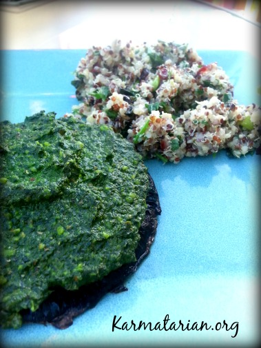 Spinach Pest Portobellos