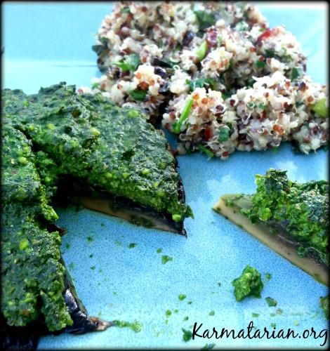 Spinach Pesto Mushroom with Cranberry Mint Quinoa Salad