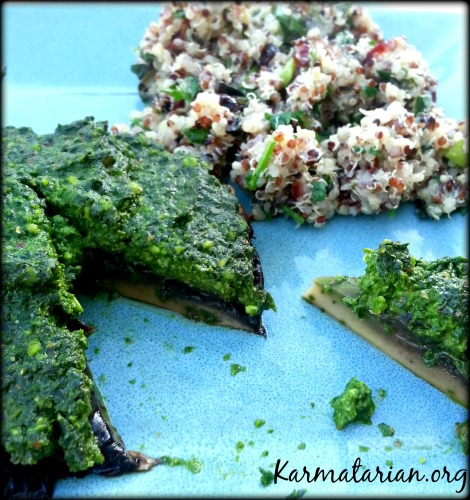 Spinach Pesto Mushroom with Cranberry Mint Quinoa Salad
