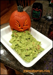 puking pumpkin with guacamole